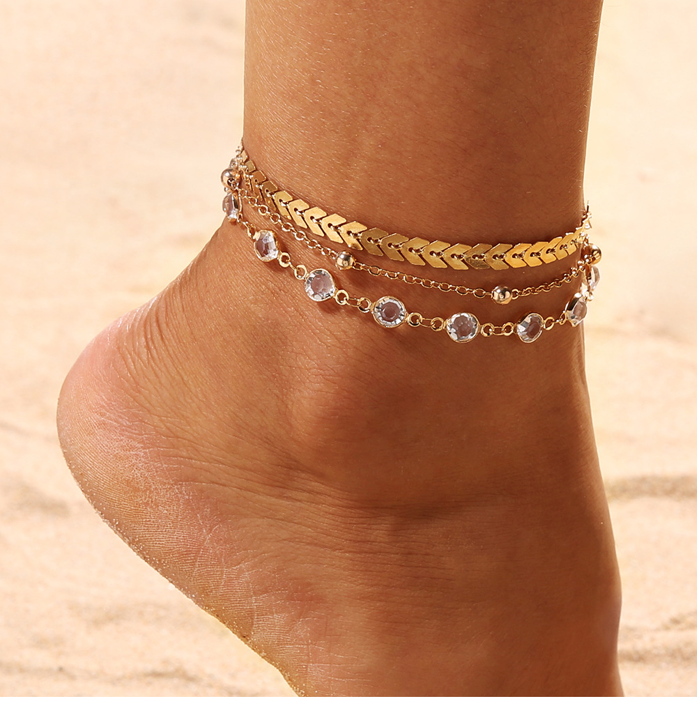 Boho Ankle Bracelet Zircon Multilayer Beads Anklet Barefoot Beach Accessories Leg Bracelet Foot For Women Jewelry Gifts 2020