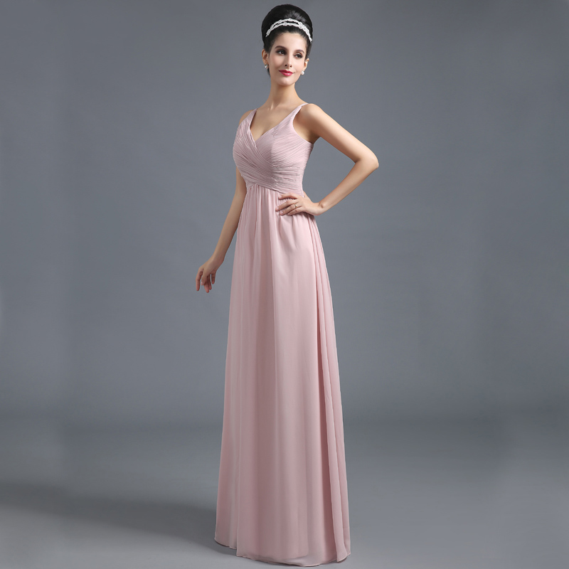 Elegant Blush Bridesmaid Dresses Chiffon Long Women High Waist Pleated A Line Sleeveless Wedding Party Prom Gown Vestido SD293