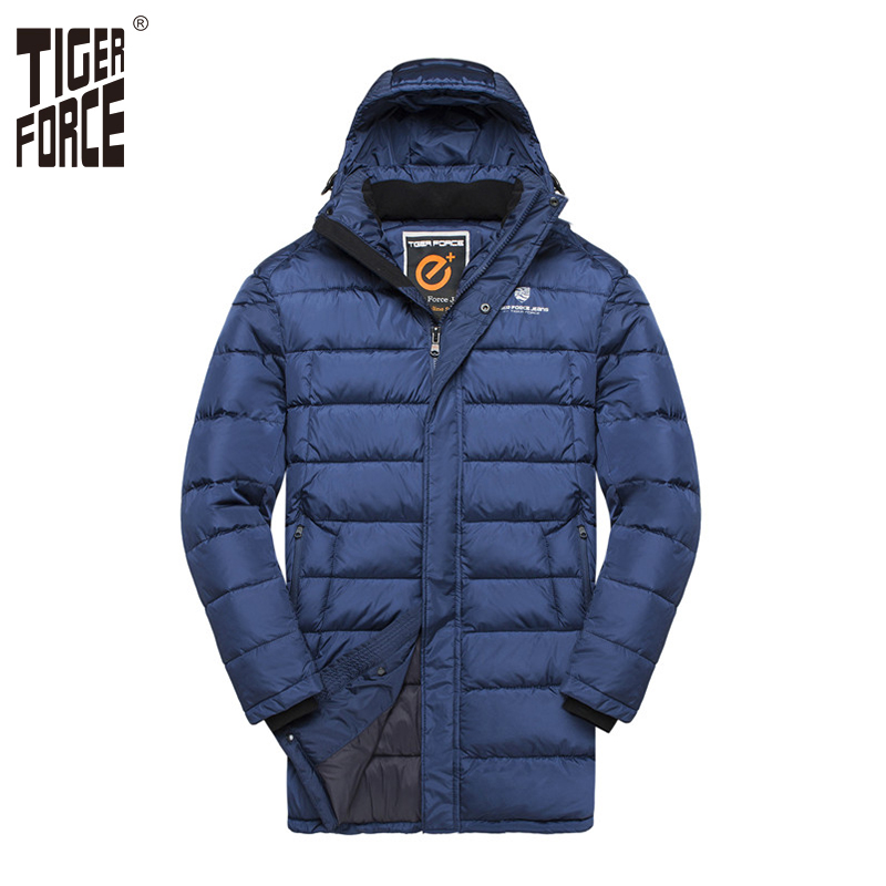 TIGER FORCE Men Padded Jacket Medium-Long Fashion Warm Overcoat Men Hooded Double Zipper Coat Men's Winter Jacket Plus Size