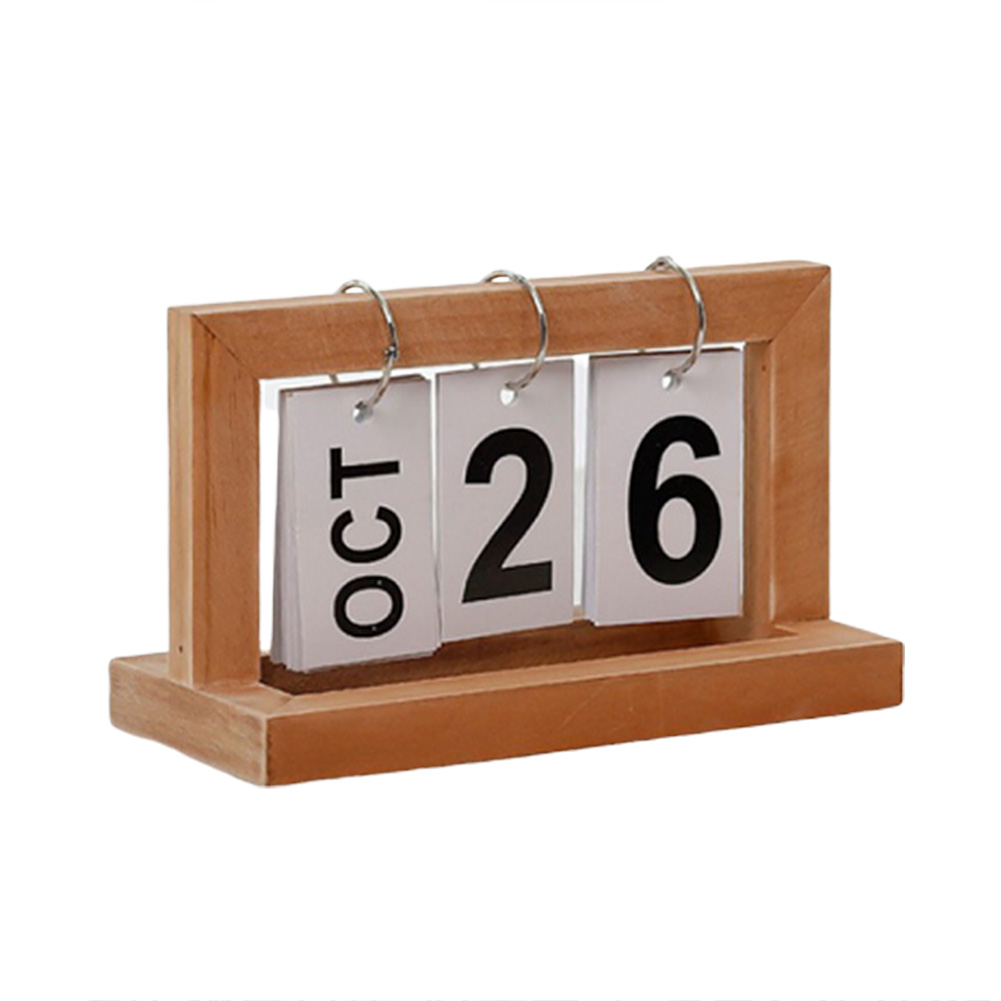 Office Wooden DIY Flip Calendar Cafe Desktop Decorative Rustic Ornaments
