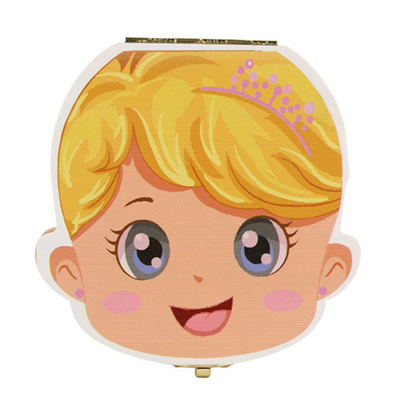 English/Spanish/French Language Wood Baby Girl Tooth Organizer Boxes Save Deciduous Wooden Keepsake Teeth Storage