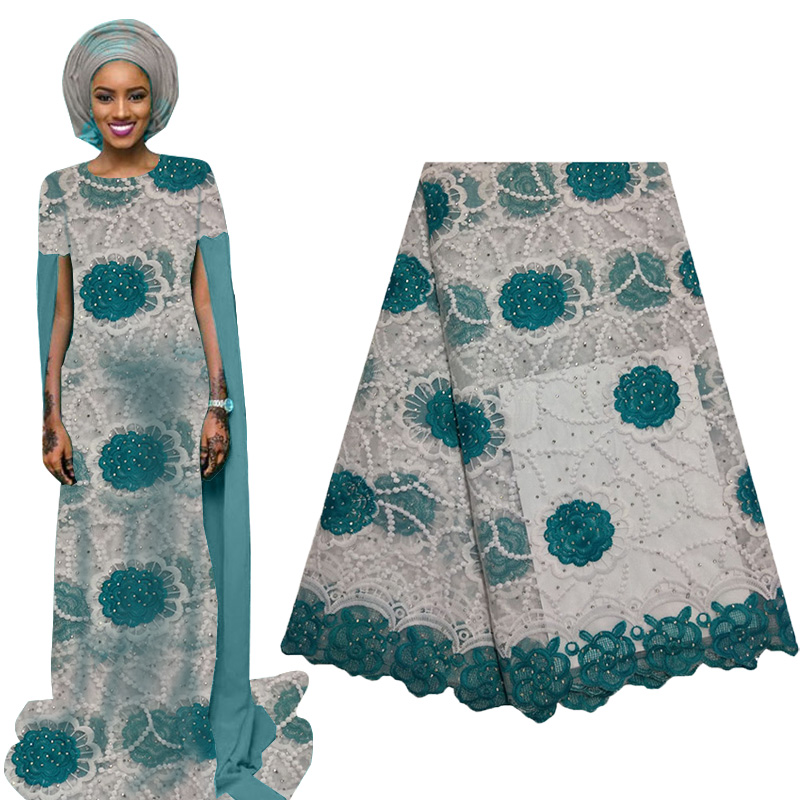 Latest African Lace Fabric 2019 High Quality French Mesh Lace Fabric With Beads Nigerian Tulle Lace Fabric For Woman Dress