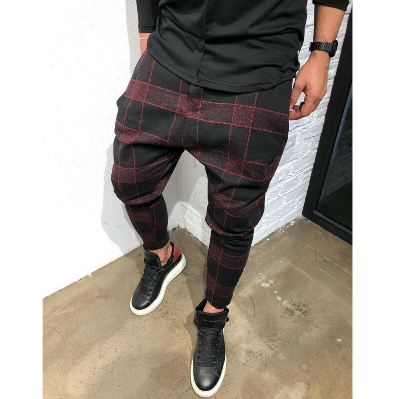 Sexy High Wasit Spring Summer Fashion Pocket Men's Slim Fit Plaid Straight Leg Trousers Casual Pencil Jogger Casual Pants