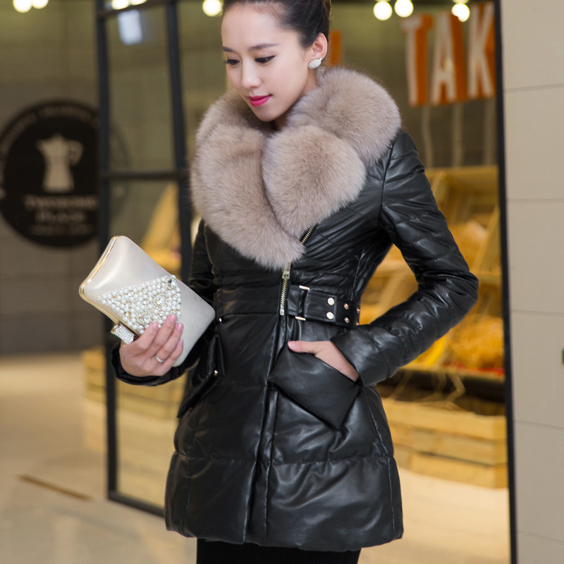 Coat Sheepskin Female Fox Fur Collar Down Jacket Winter Coat Women Real Leather Jacket Long Jackets Chaqueta Mujer MY S