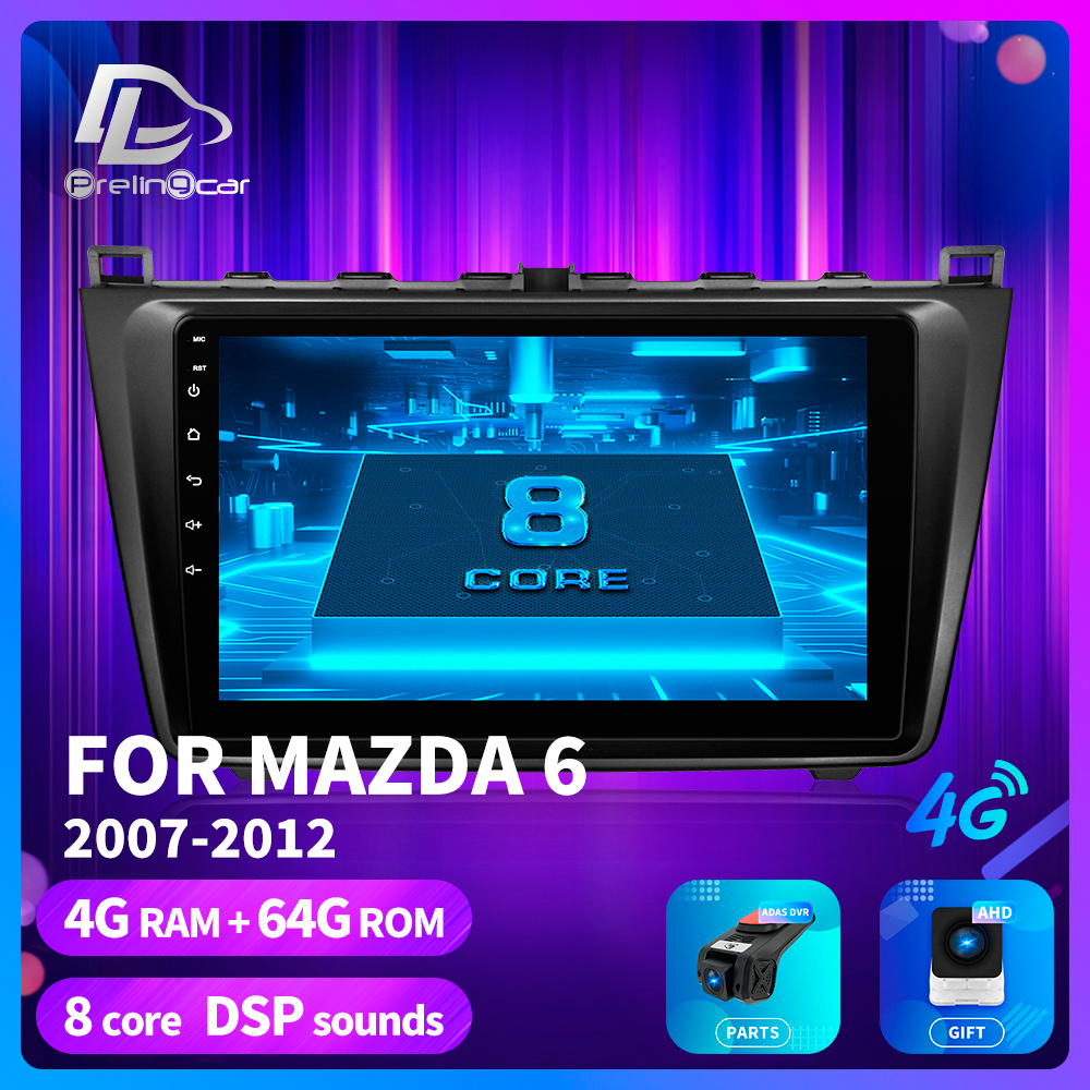 prelingcar For <font><b>Mazda</b></font> <font><b>6</b></font> II Ultra 2007 08 09 10 1112 Car Radio <font><b>Multimedia</b></font> Video stereo Player Navigation GPS <font><b>Android</b></font> 9.0 dashboard image