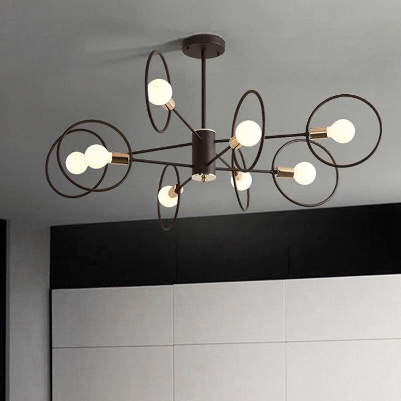 Nordic black chandelier simple atmosphere living room bedroom lamp personality shape minimalist modern chandelier