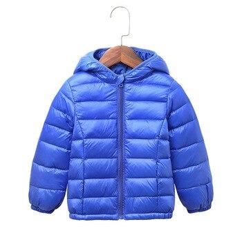 طفل الفتيات الفتيان سترة الخفيفة أطفال سترة هود 90 ٪ بطة أسفل معطف الشتاء الأطفال سترة ربيع الخريف طفل قميص 1-12 سنة 1
