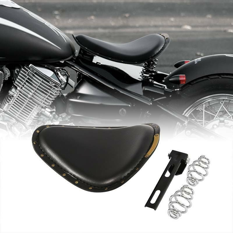 Alpha Rider Motorcycle Solo Seat Retro Flame Leather Slim 3 Spring Mounting Bracket for Cruiser Bobber Chopper Harley Honda Yamaha Suzuki Kawasaki
