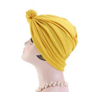 Image 5 - 이슬람 turban 비니 모자 매듭이 달린 탄성 머리 랩 캡 여성 chemo arab caps pleated 이슬람 탈모 모자 chemo cap bonnet new
