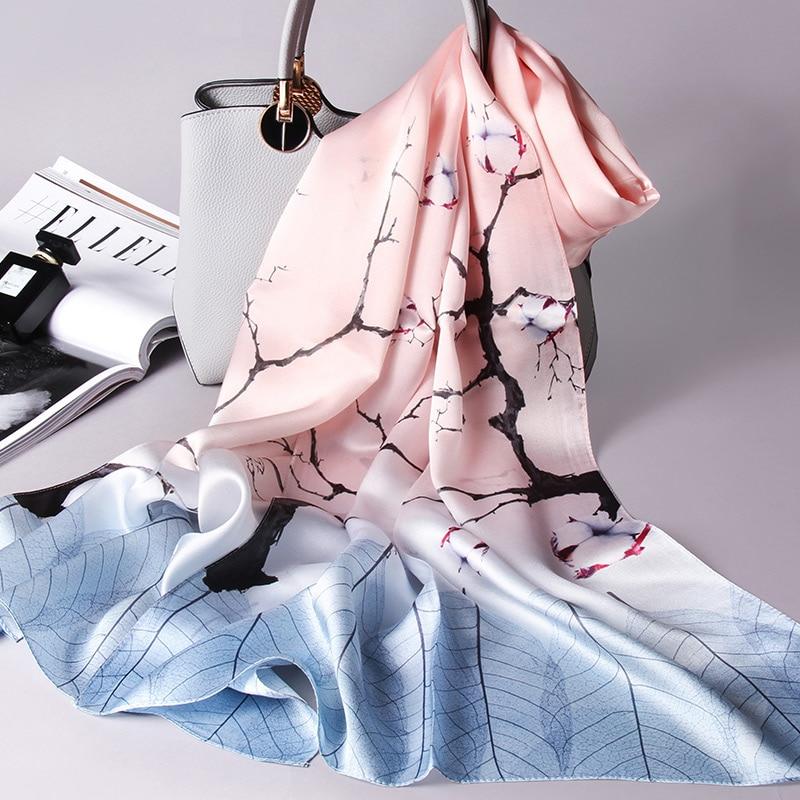 100% Pure Silk Scarf For Women Hangzhou Real Silk Wraps Echarpe Ladies Printed Shawls Foulard Femme Natural Silk Scarves Long