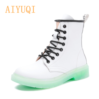 AIYUQI Women Winter Boots Shoes Fur 2020 New Genuine Leather Fashion Ankle Boots Student Flat Female Martin shoes women s boots genuine leather shoes new martin boots round toe buckle fashion boots motorcycle winter platform warm shoes boots