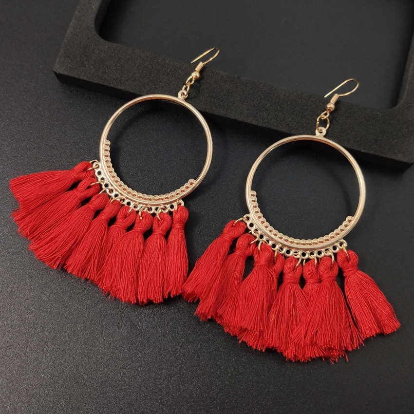 Women's earrings European and American explosions silk tassel earrings Bohemian big circle geometric earrings ladies jewelry