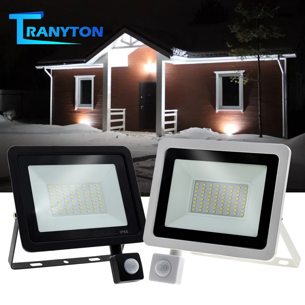 Waterproof LED Street Light 10W-100W Adjustable Floodlight 220V With PIR Motion Sensor Outdoor Spotlight For Garden Street