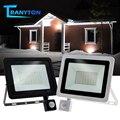 Wasserdichte LED Straße Licht 10W-100W Einstellbare Flutlicht 220V Mit PIR Motion Sensor Outdoor Scheinwerfer Für garten Straße