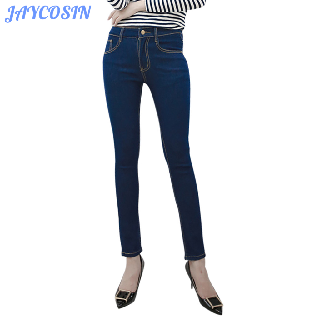 JAYCOSIN Clothes Women Skinny Jeans Button Zipper Elastic Waist Denim Trousers Pocket Fashion Casual Slim Sexy Pencil Jeans 829