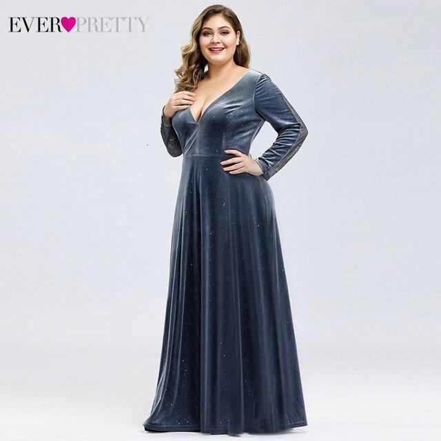 Plus Size Velour Evening Dresses Ever Pretty A-Line Deep V-Neck Long Sleeve Sparkle Autumn Winter Evening Gowns Abendkleider 2