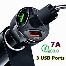 Быстрая зарядка QC3.0 автомобильное зарядное устройство 3 usb порта адаптер для автомобильного прикуривателя для iPhone samsung huawei Xiaomi QC автомобильное зарядное устройство для телефона