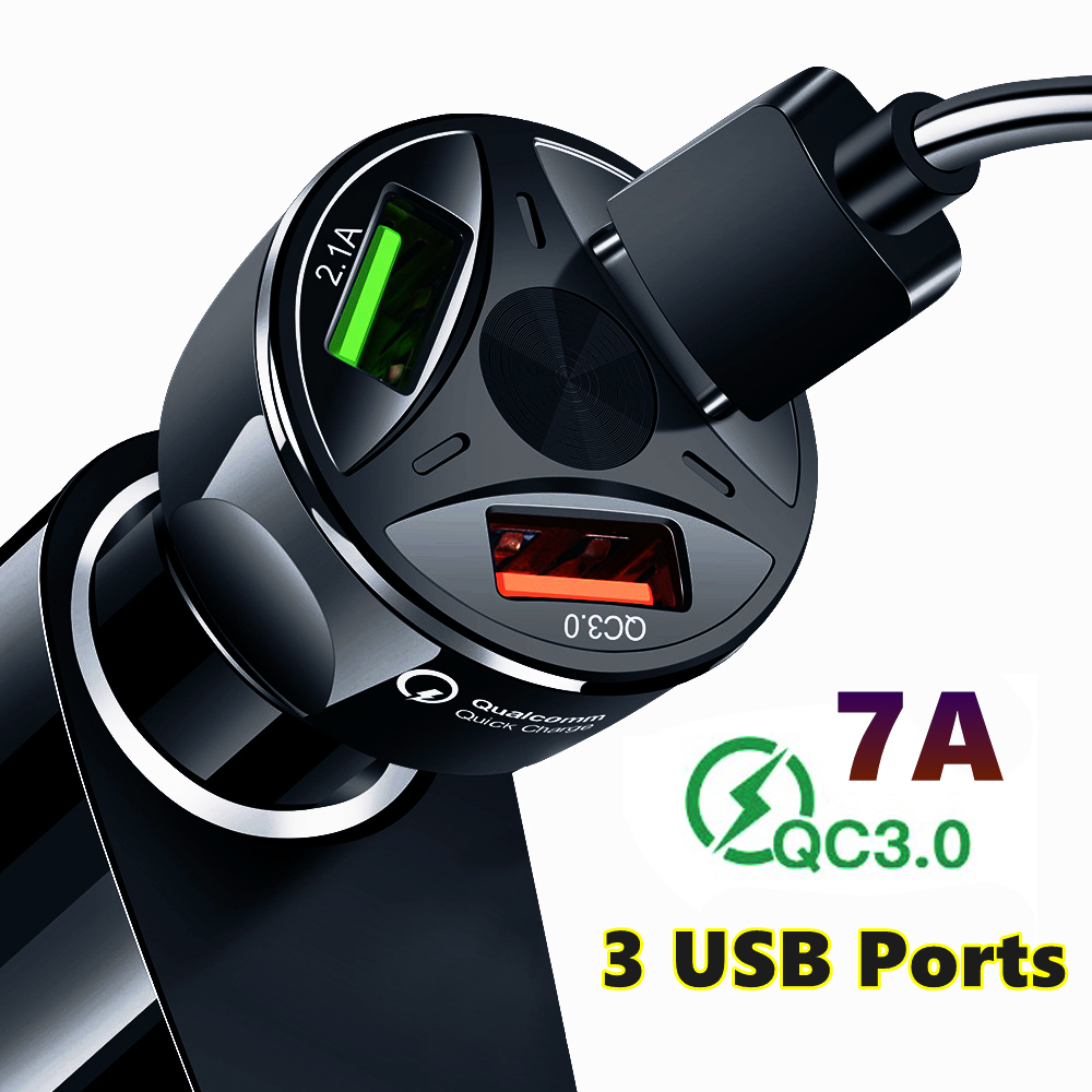 Quick Charge QC3.0 Car Charger 3 USB Ports Car Cigarette Lighter Adapter for iPhone Samsung Huawei Xiaomi QC Car Phone Charging