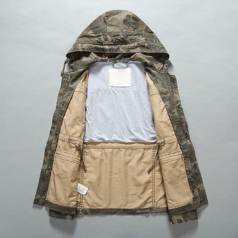 Уличная камуфляжная куртка мужская повседневная Военная куртка с капюшоном и пальто Модная ветровка армейский кардиган мужская одежда - 3