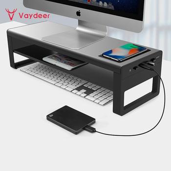 Vaydeer 2 poziomy aluminiowa podstawa monitora z bezprzewodowym ładowaniem i 4 porty USB 3 0 huby obsługują Transfer danych tanie i dobre opinie CN (pochodzenie) 20 ZG8032 With wireless charging and a 4USB port For computer monitors