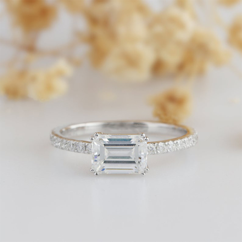 Veryins 14K 585 White Gold 1ct 5x7mm DEF Color Emerald Cut Moissanite Side Stone Engagement Ring for Women Wedding Gift