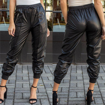Women Solid Faux Leather Leggings High Waist Elastic Thin Sexy Trousers Skinny Pants Female Stretch Jeggings Calzas Mujer #35 contrast faux leather elastic waist leggings