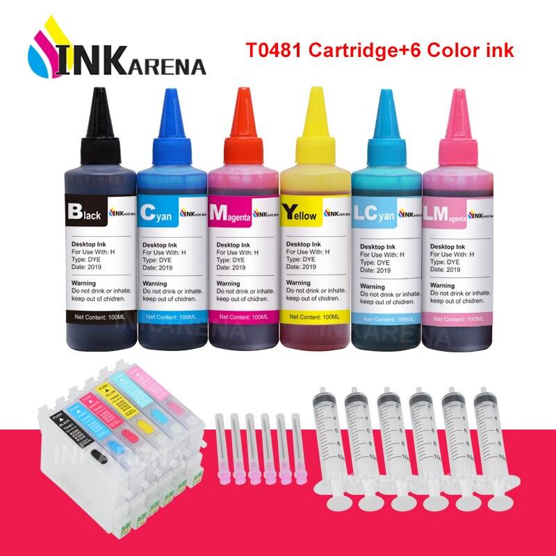 INKARENA 6×100ml Bottle Dye Ink + T0481 Refillable Printer Ink For Epson Stylus Photo R200 R220 R300 R300M R320 R340 RX500 RX600
