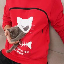 Autumn Winter Hoodie Cat Dog Pet Lovers Pullovers Loose Sweatshirt Pocket Animal Ear Hooded Tops Female Casual толстовка(China)