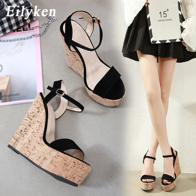 Eilyken-sandales dété à semelles compensées pour femme, chaussures à semelles ouvertes et bout ouvert, style romain, loisir, bride avec boucle à la cheville noire, à talons hauts
