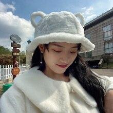 Bucket-Hat Bear Ears Kawaii Warm-Hats Fluffy Girls Winter Women Cute Ladies Outdoor Sweet