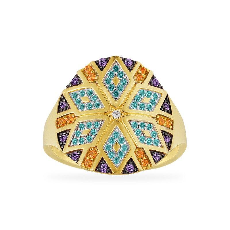 925 argent Sterling coloré Zircons losange motif géométrique Tribel large fiançailles bague de mariage femmes bagues pour femme