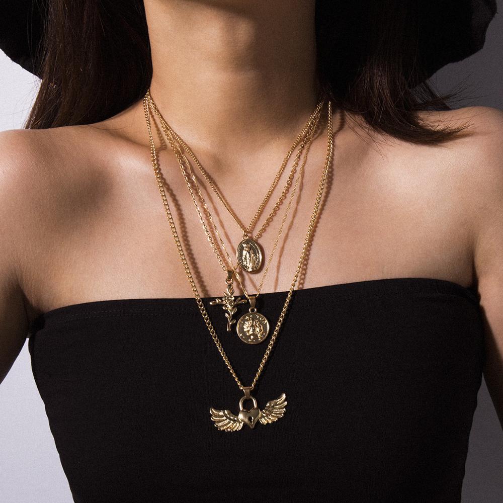 Fashion Gold Femmes Multi-couche Rose Croix Pendentif Collier long Bijoux W