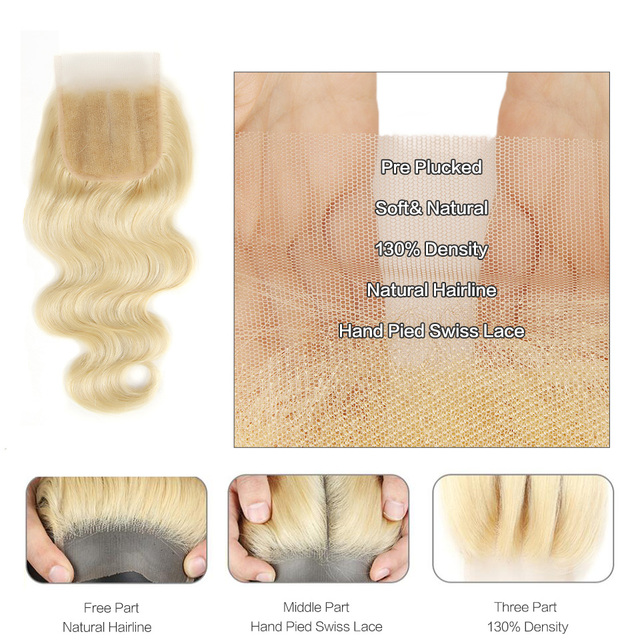 Black Pearl 613 Blonde Bundles With Closure Malaysian Body Wave Remy Human Hair Weave Honey Blonde 613 Bundles With Closure 5