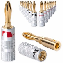 100pcs Banana Connectors Excellent New 24K Gold Nakamichi Speaker Banana Plugs For Audio Video Speaker Connector Black Red Color