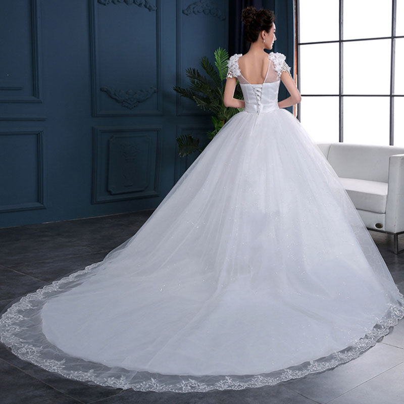 Cheap 2019 New Fashion Luxury High-end Sleeved Wedding Dresses 2019 With Lace Beads Fashion Bridal Gown Vestidos De Noiva