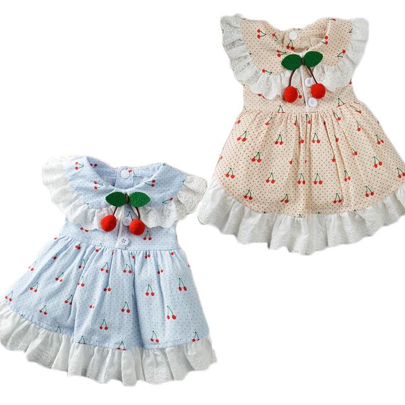 Sweet Lace Lape Collar Dress For Dogs Cherry Decor Blue Tutu Skirt For Small Dog Girl Princesses Shirts Pet Apparel Sundress XXL