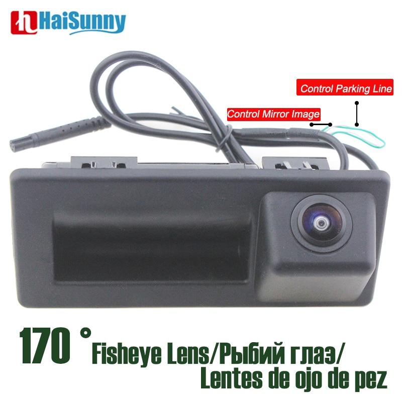 HD CCD 170 Degree Fisheye Lens Car Trunk Hand Rear View Camera For Audi A4 V W Touran Tiguan Bora Tournamen Skoda Speed Octavia
