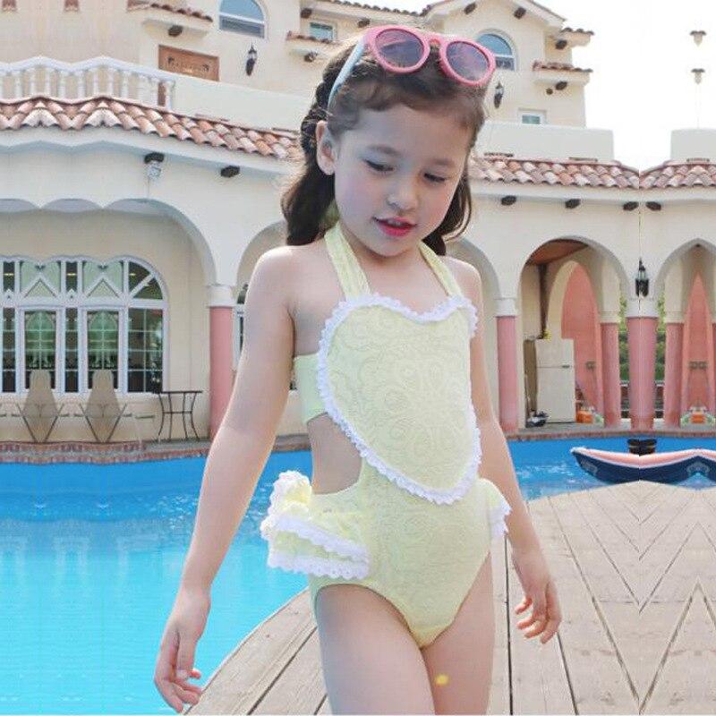 Korean-style Childrenswear GIRL'S Bikini Medium-small CHILDREN'S Swimwear Baby Heart Lace One-piece Swimwear 2 Pieces
