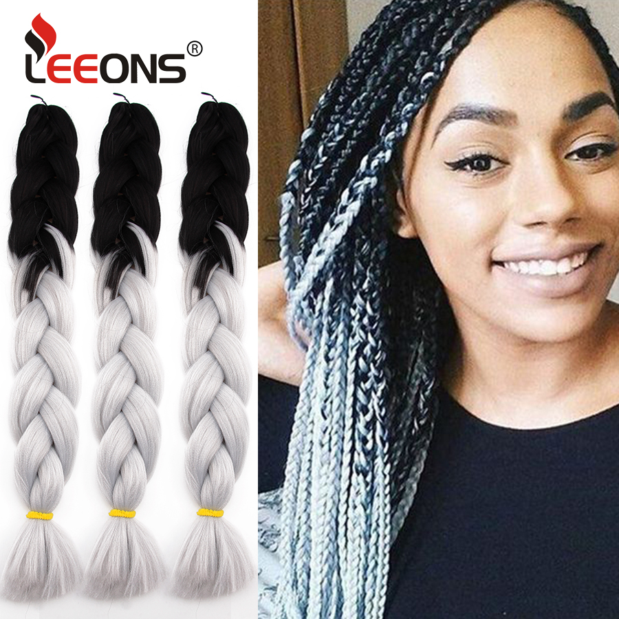 Leeons Rainbow Braiding Hair Extension High Quality Synthetic Jumbo Hair Braids 24 Inches 100g/Pcs Kanekalon Hair