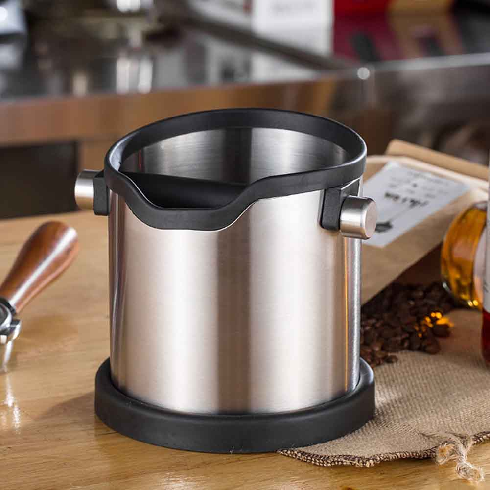 1800ml Restaurant Coffee Knock Box Grind Container Stainless Steel Home Silver Large Capacity Anti Slip Kitchen Tool Portable