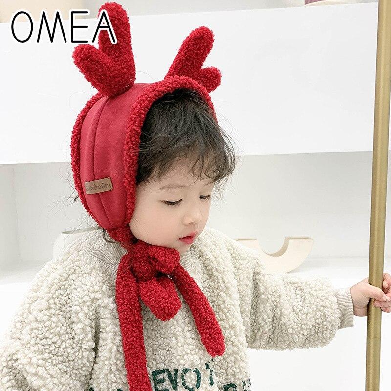 OMEA Winter Earmuffs Kids Deer Christmas Children's Scarf Lovely Boys Scarf Tie Kawaii Hat Girls Fleece Ear Warmers Cartoon Cat
