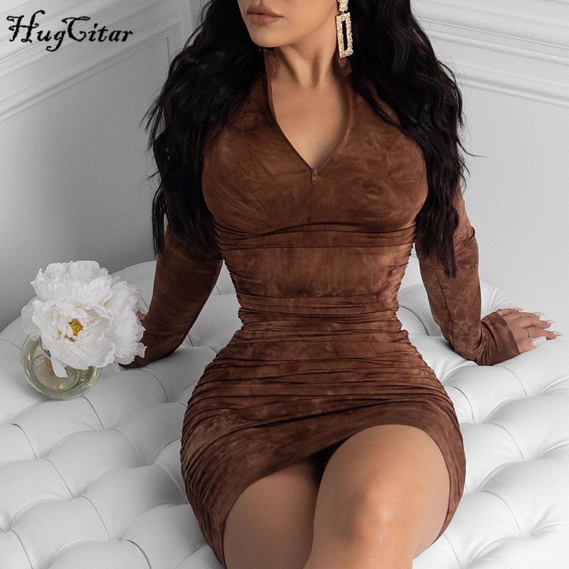 Hugcitar 2020 long sleeve tie dye ruched bodycon sexy midi dress spring women streetwear outfits party bright clothing