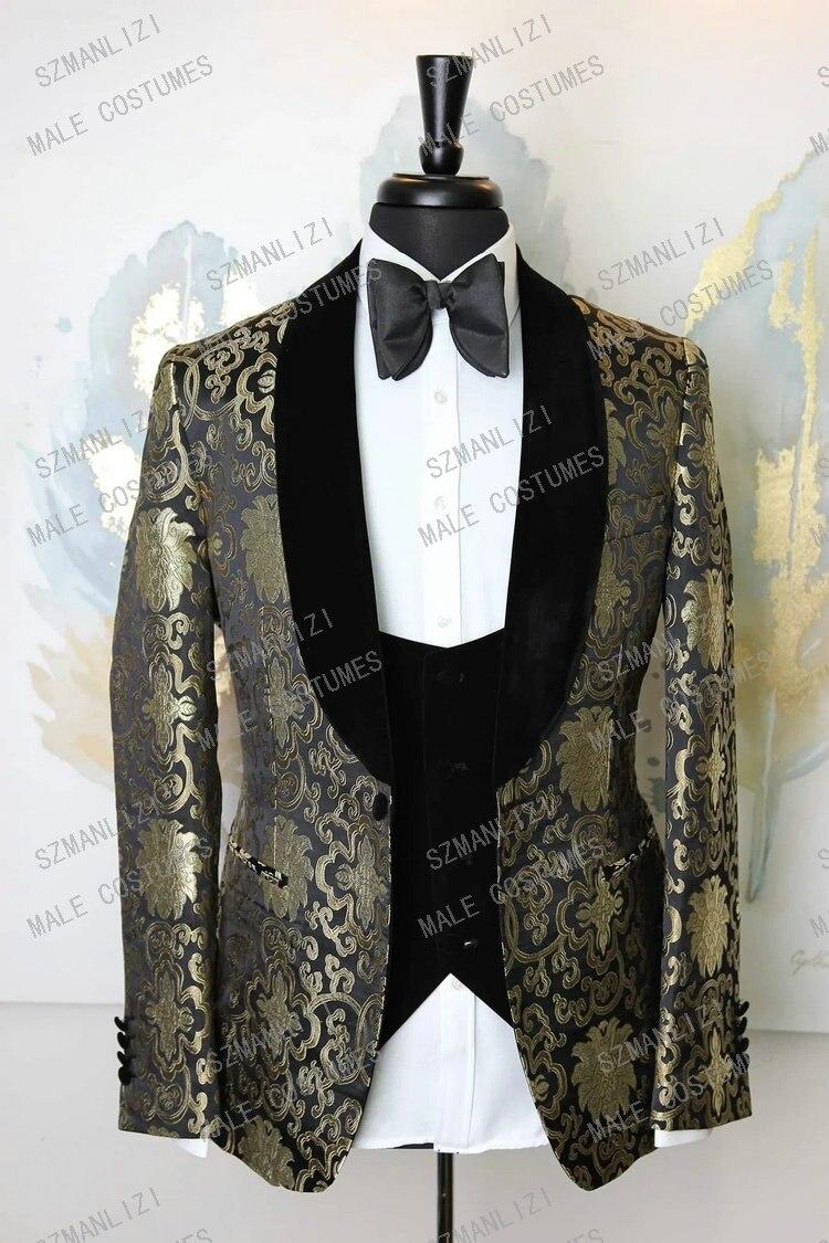 2020 Gold Flower Blazer Men suits Black Velvet Lapel Groom Prom Party 3 Piece Wedding Suit Costume Marriage Homme Male Tuxedo