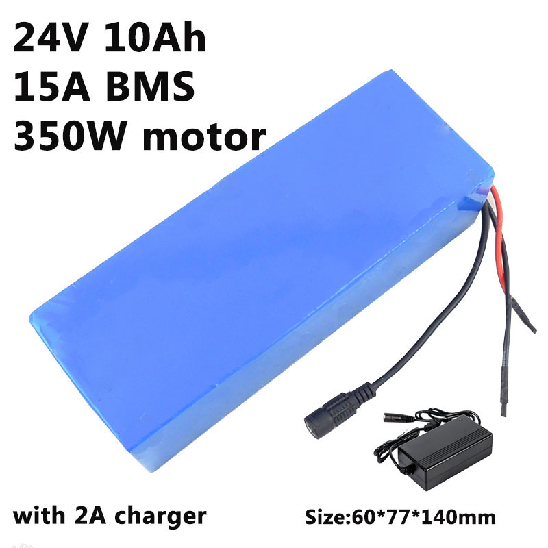 24v 10ah lithium electric bike battery 24v 10ah battery pack li-ion for bicycle 24v 350w e bike 250w motor with 15A BMS Charger