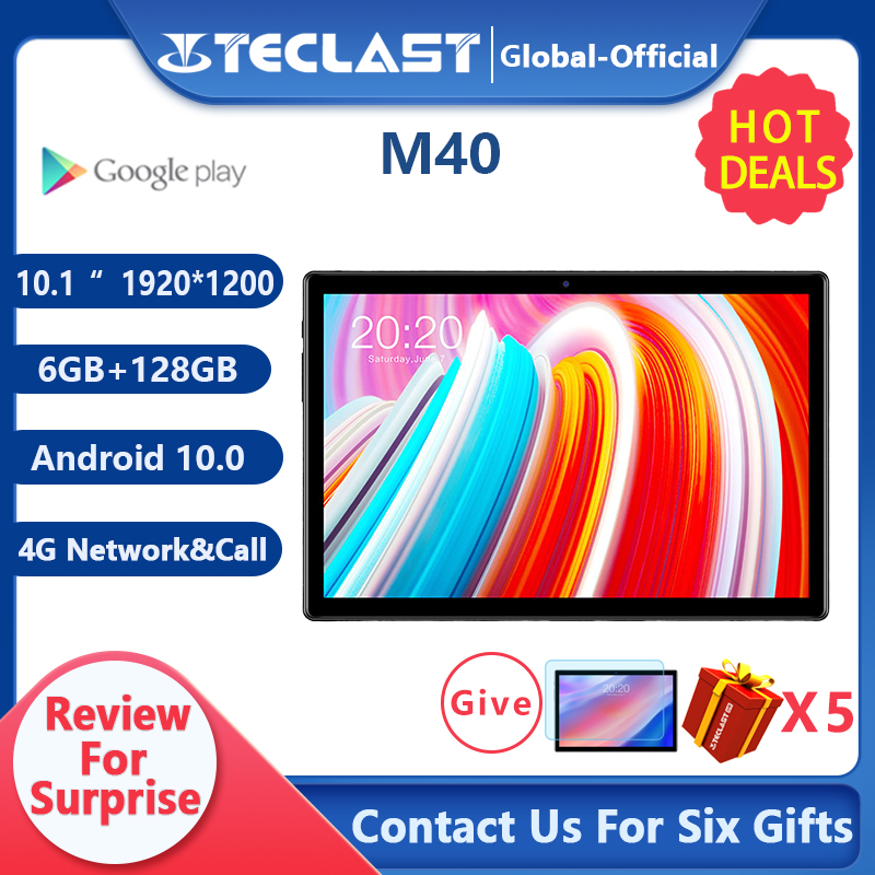 Teclast M40 10.1 ''tablette 1920x1200 4G réseau UNISOC T618 Octa Core 6GB RAM 128GB ROM tablettes PC Android 10 double Wifi type-c