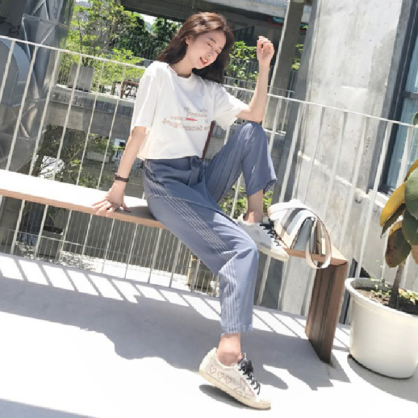 Summer Wear New Style Large GIRL'S Network Hong Yang Gas Set By Age Fat Mm Slimming Large Size Casual Loose Pants Two-Piece Wome
