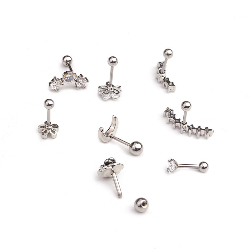 1 PCS Mix Design Cute Small Rose Flower Moon Ear Stud Cuff Earrings Silver Color Micro Pave CZ Bar Ball Helix Cartilage Piercing