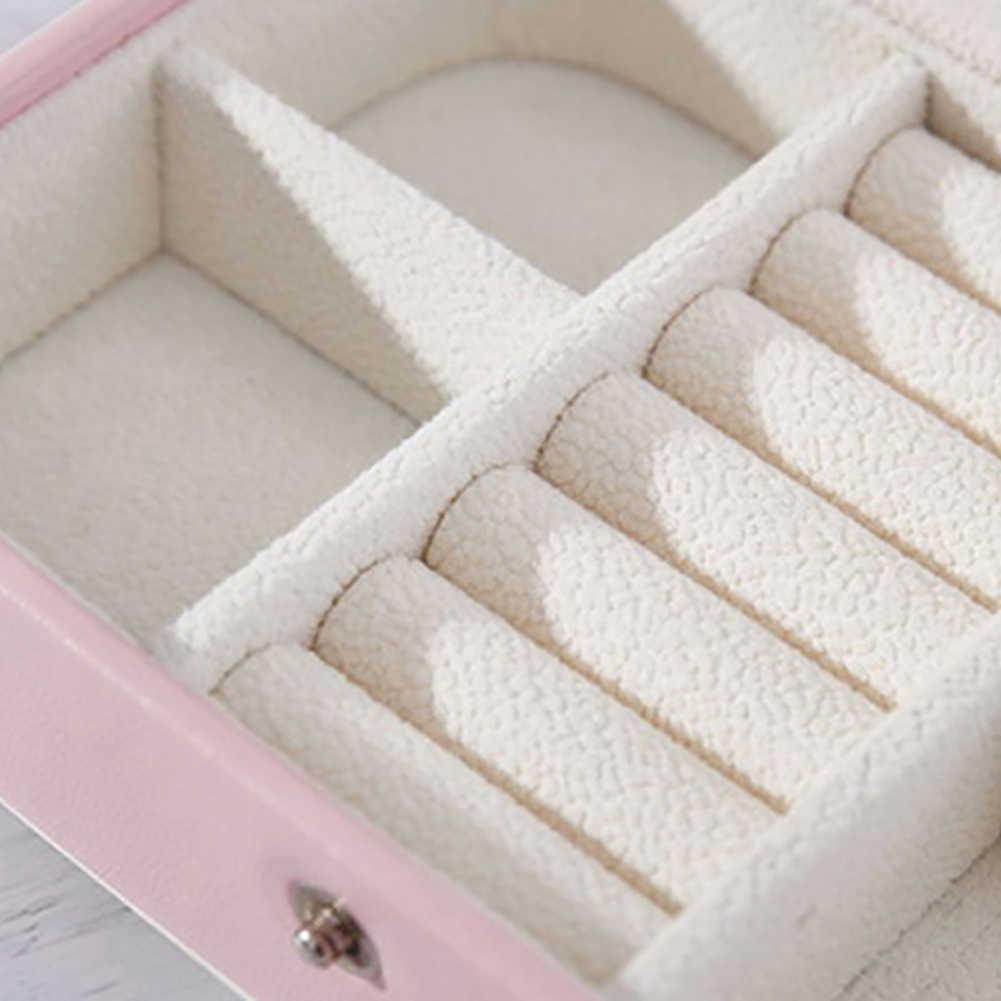 Mujeres Coreanas de cuero de doble capa de cosméticos pendientes placa joyería caja soporte collar anillo portátil viaje espejo bolsa de almacenamiento