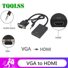Tqqlss vga para hdmi adaptador conversor compatível saída 1080phd com áudio vga2hdmi tv av para hdtv vídeo cabo conversor adaptador