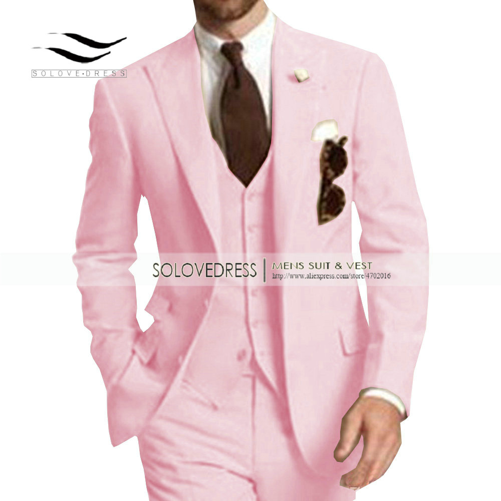 Men's Suit Formal Business Suits 3 Pieces Notch Lapel Solid Tuxedos Best Man For Wedding Groomsmen (Blazer+vest+Pants) Beige New - 4